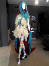 AponteSierra's Art and Craft is customized for different venues and events. Here is a wearable couture dress made with more of 1500 expired male condoms over a mannequin coloreaded using hundreds of confettis. This Dress was donated to the World AIDS Museum and Educational Center in Wilton MAnors, FLorida.